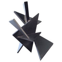 Geometric Constructivist Table Sculpture Composed of Thick Steel Triangles, 1984