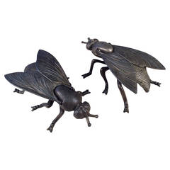 Large Cast Brass Lidded Insect Boxes with Intricate Detail, Made in Italy