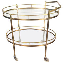Patinated Solid Brass Bar Cart by Maxwell Phillips, New York City, circa 1960