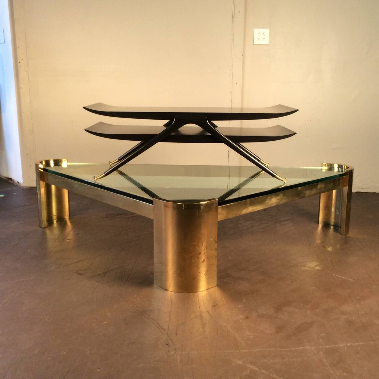 Massive brass triangle coffee table by jay spectre studio circa massive brass triangle coffee table by jay spectre studio circa 1980 2 geotapseo Choice Image