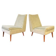 Impeccable 1950s Slipper Lounge Chairs in Sea Foam Velvet by Paul McCobb