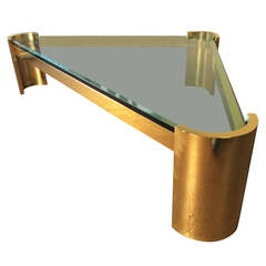 Massive Brass Triangle Coffee Table by Jay Spectre Studio, circa 1980