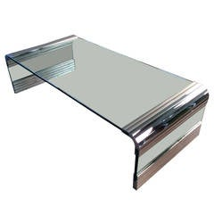 Leon Rosen for Pace Collection Scalloped Chrome Waterfall Cocktail Table