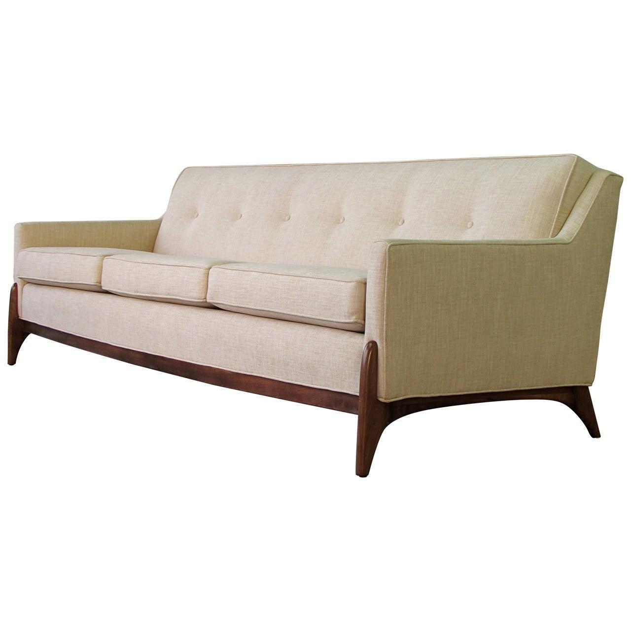 Stunning Mid Century Modern Sofa With Sculptural Legs