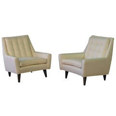 Classic Mid-Century Modern Lounge Chairs with Curved Detail, circa 1950
