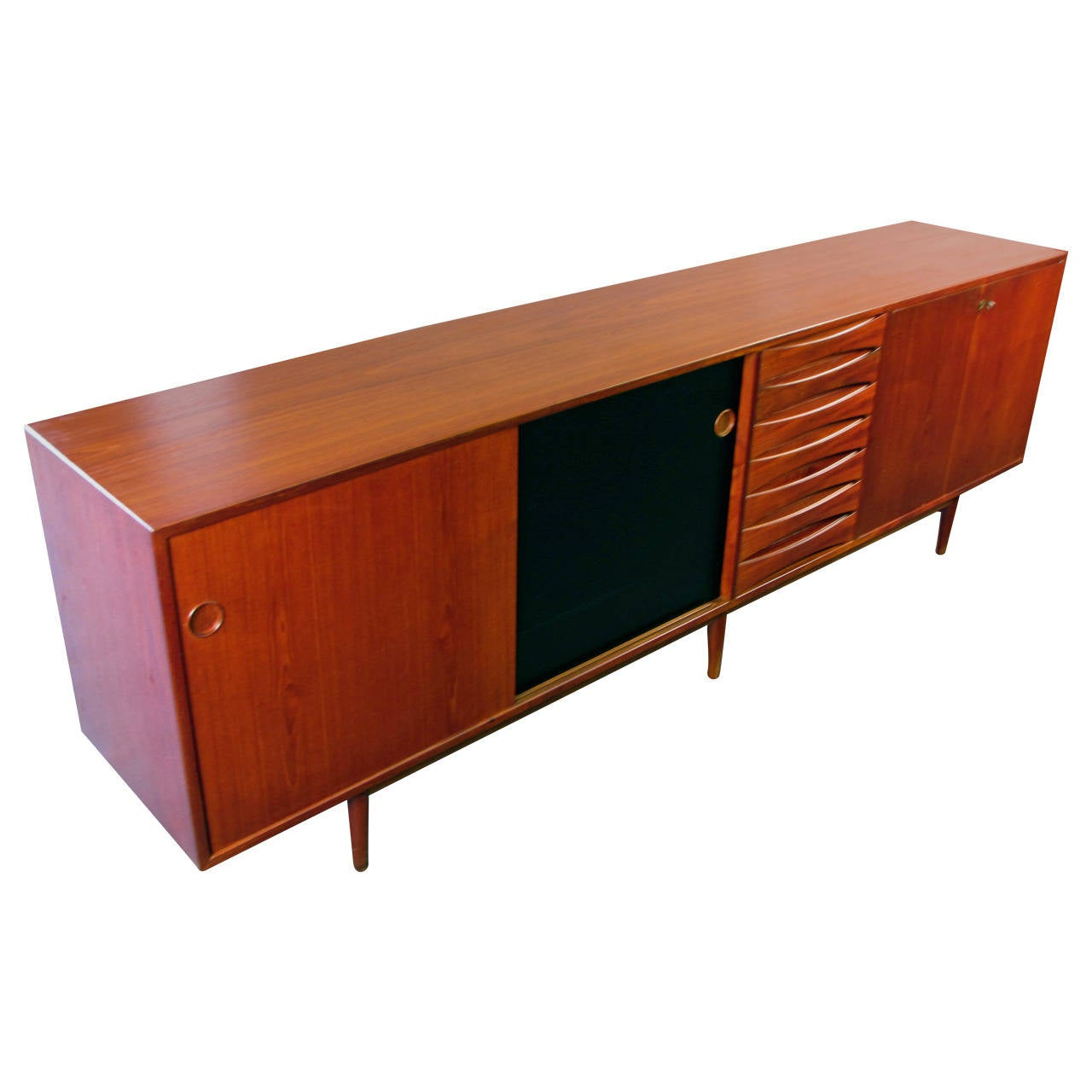 Massive Teak Buffet Or Credenza With Reversible Doors By Arne Vodder . Full resolution  snapshot, nominally Width 1280 Height 1280 pixels, snapshot with #B13A0F.