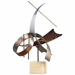 Large-Scale Abstract Modern Stainless Steel Table Sculpture by Curtis Jere, 1979