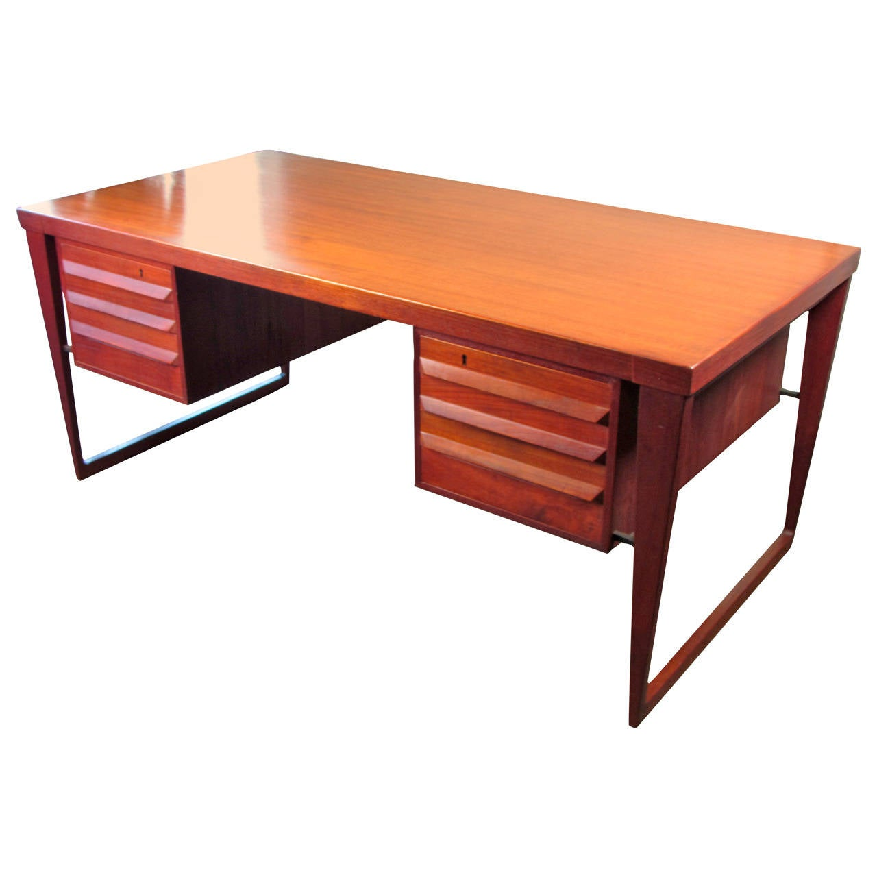Handsome Danish Modern Executive Desk On Sled Base By Kai