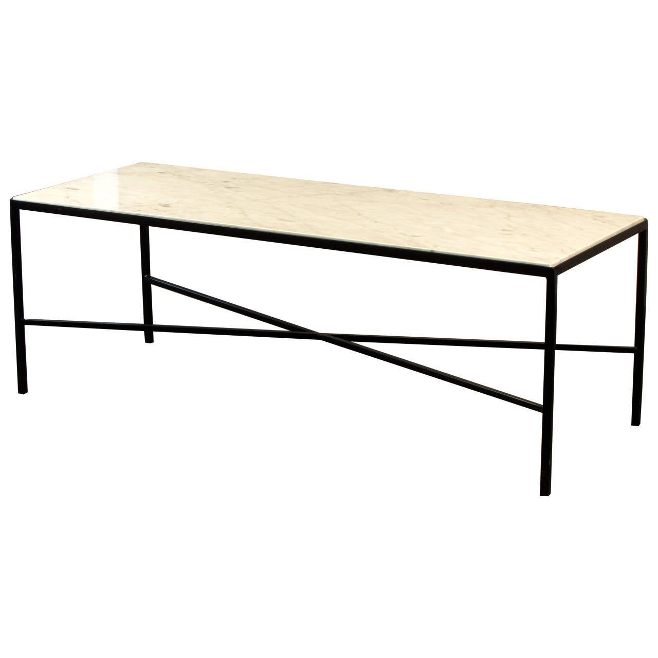 Elegant Wrought Iron And Carrara Marble Coffee Table Stamped French