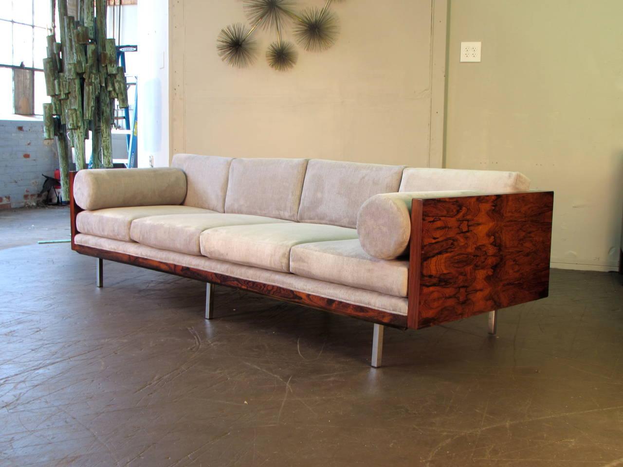 Mid Century Modern Milo Baughman For Thayer Coggin Sofa In Rosewood And Velvet Circa