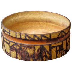 Signed Pottery Bowl with Architectural Decoration by Marcello Fantoni, Italy