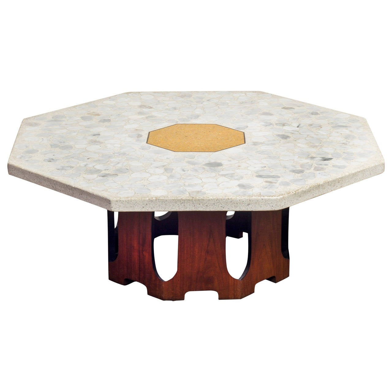 Octagonal Terrazzo Coffee Table With Walnut Base By Harvey Probber At 1stdibs