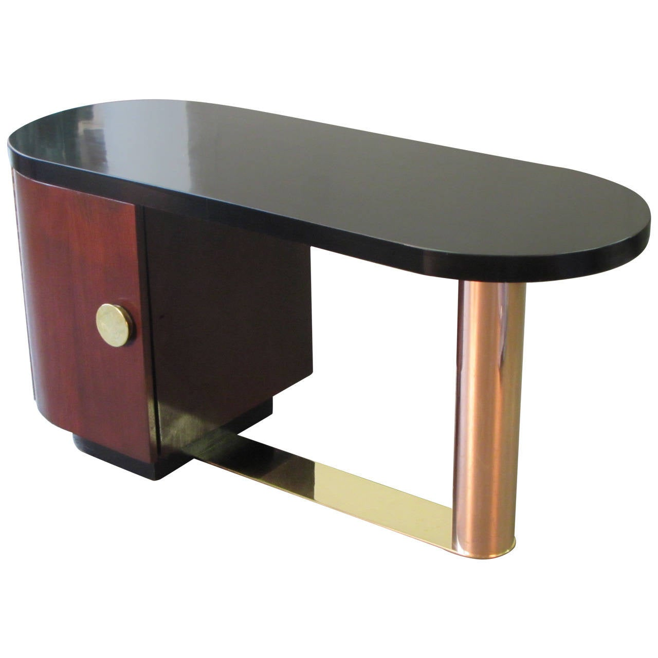Gilbert Rohde Style Art Deco Desk With Copper And Brass