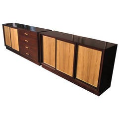 Custom Ribbon Mahogany and Rosewood Dresser Set by Harvey Probber Studio, 1965