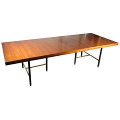 Stunning Rosewood and Brass Dining Table by Harvey Probber Studio, 1965