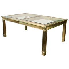 Striking Brass and Glass Dining Table with Leaf by Mastercraft, 1970s