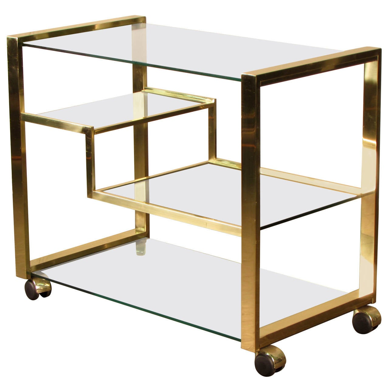 radiant brass bar cart italy 1970s at 1stdibs. Black Bedroom Furniture Sets. Home Design Ideas