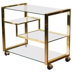 Radiant Brass Bar Cart, Italy, 1970s