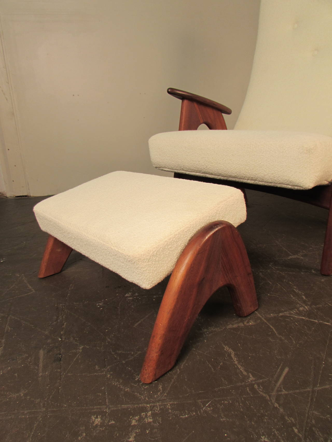 Rare And Very Comfortable Lounge Chair And Ottoman By