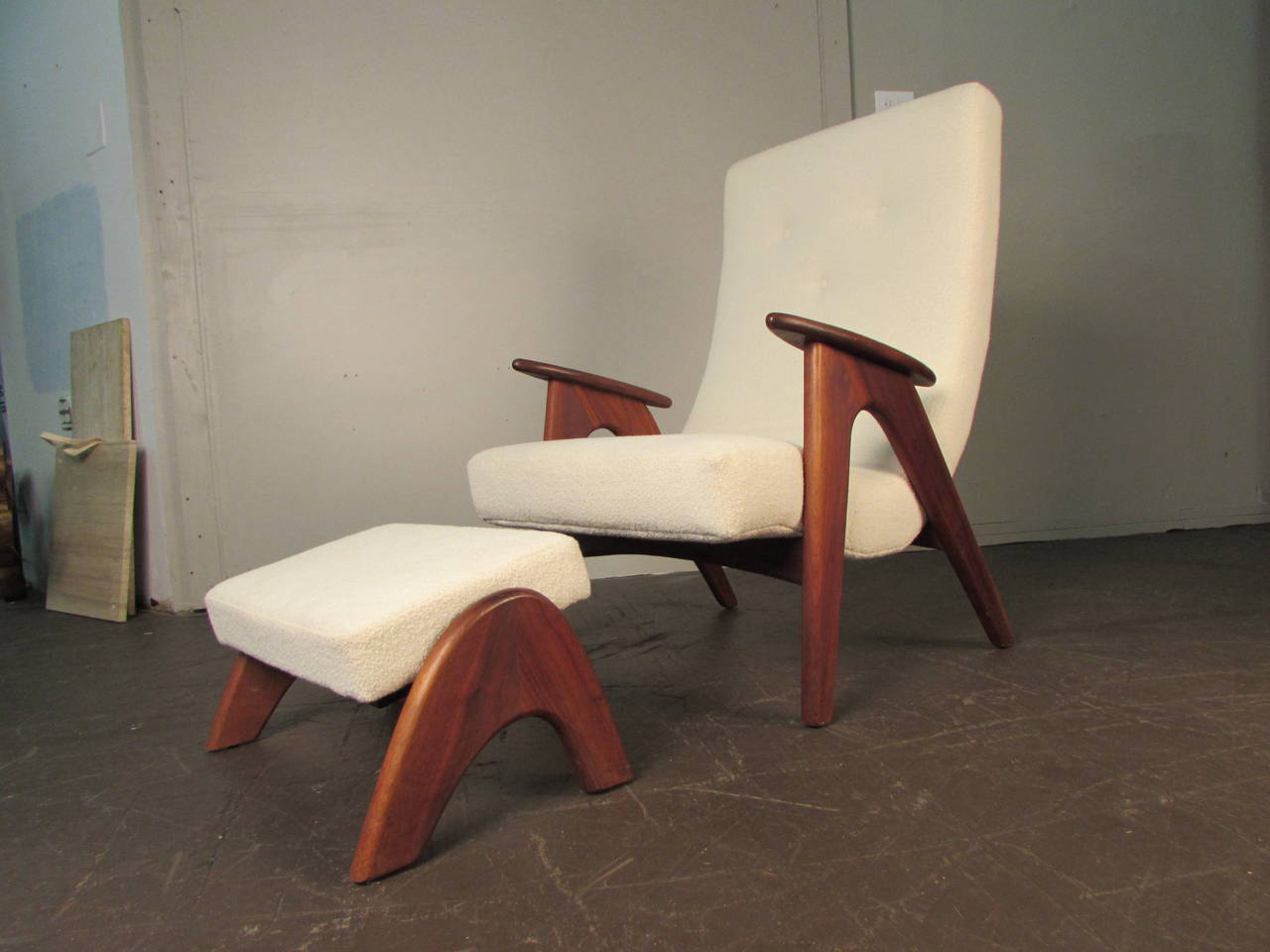 Rare and very comfortable lounge chair and ottoman by for Comfortable chairs for sale