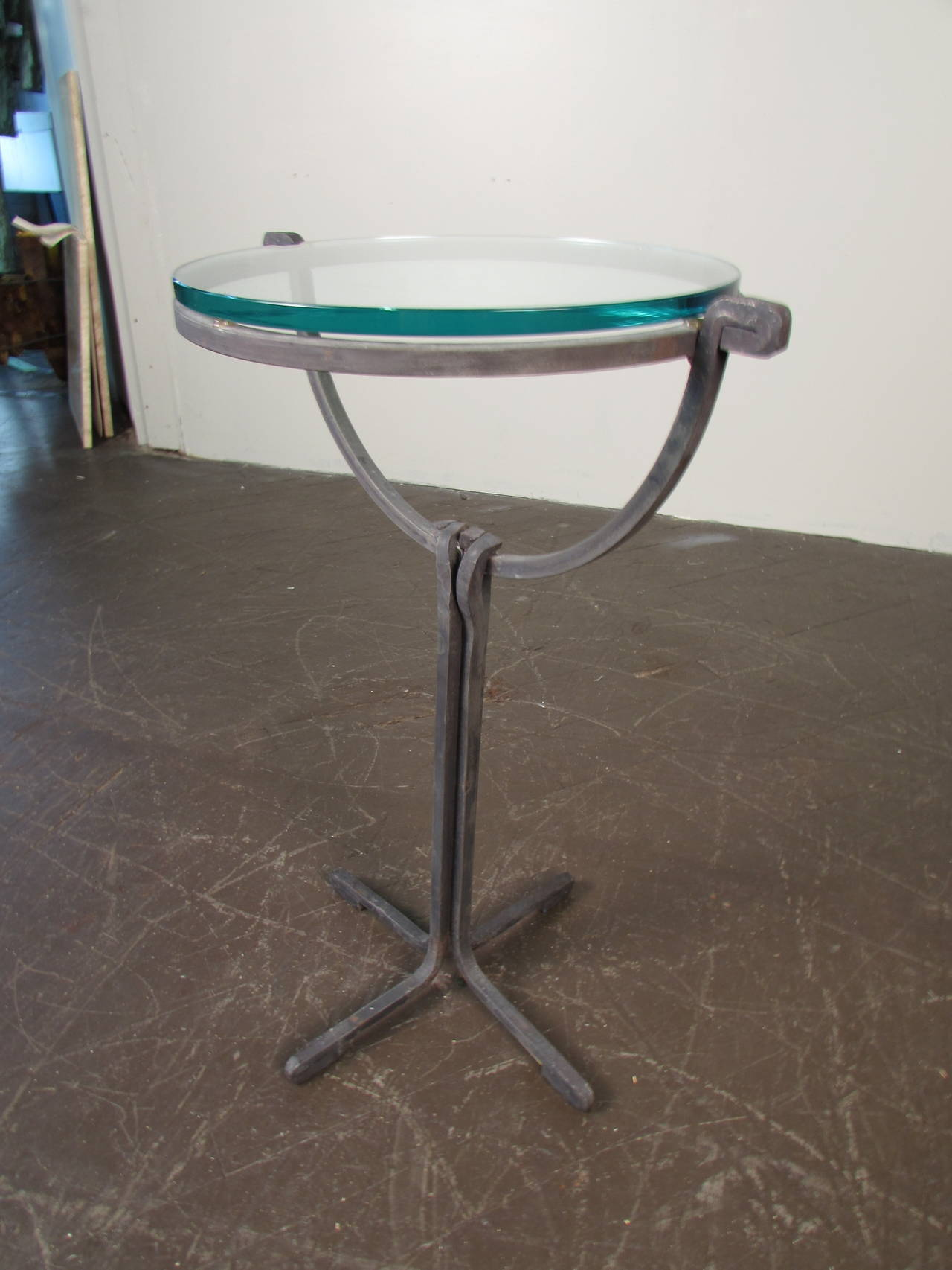 Hand Forged Wrought Iron Drink or Side Table with Glass