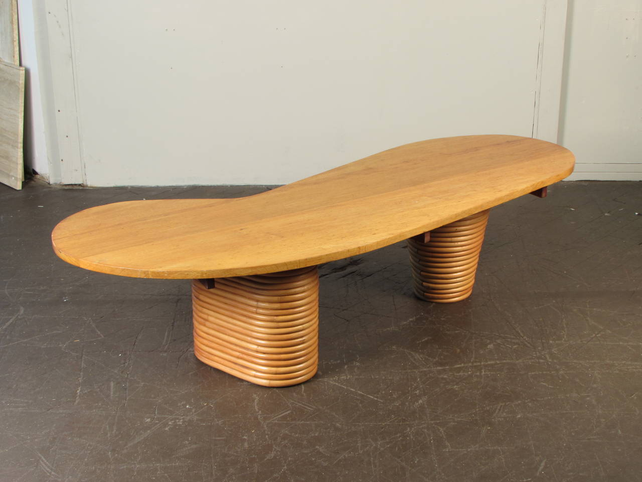 Biomorphic Coffee Table Rare Biomorphic Coffee Table With Rattan Base In The Style Of Paul