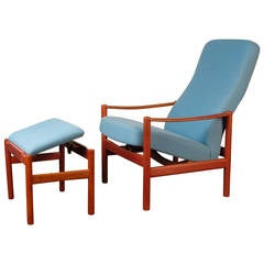 Handsome Reclining Lounge Chair and Ottoman by Westnofa, Norway, 1960s
