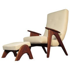 Rare and Very Comfortable Lounge Chair and Ottoman by Adrian Pearsall, 1960s