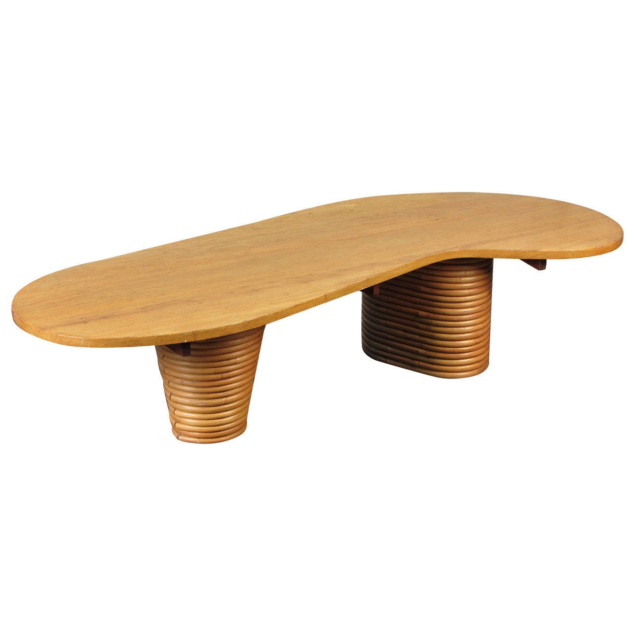 Wicker Coffee Table Base: Rare Biomorphic Coffee Table With Rattan Base In The Style