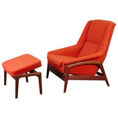 Reclining Lounge Chair and Ottoman by Folke Ohlsson for DUX, Sweden, 1950s