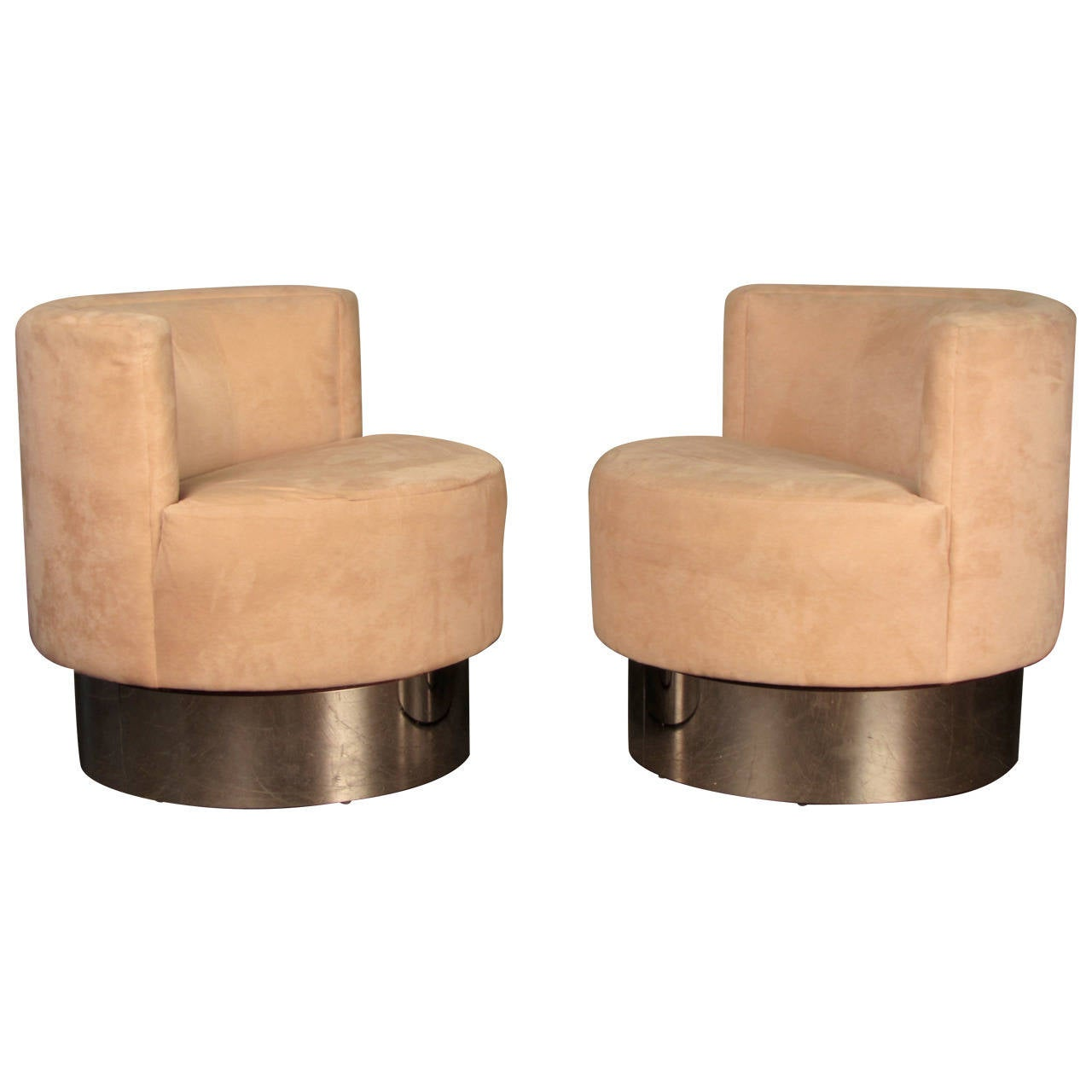 Pair Of Swivel Lounge Chairs On Smoked Chrome Bases For