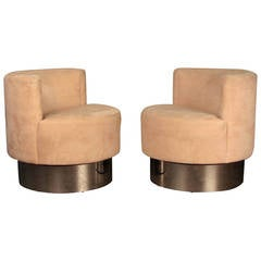 Pair of Swivel Lounge Chairs on Smoked Chrome Bases