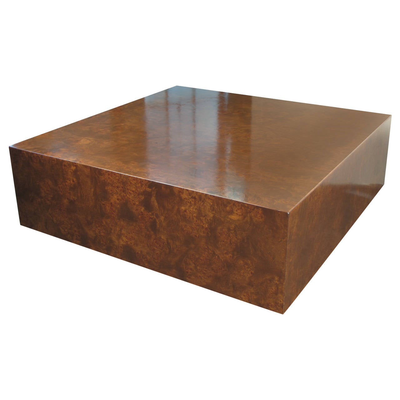 Burled wood cube coffee table by milo baughman for thayer for Wood cube coffee table set