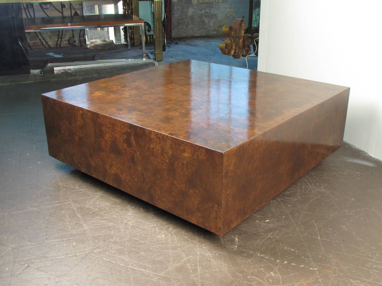 Burled Wood Cube Coffee Table By Milo Baughman For Thayer Coggin 1970s Newly Refinished