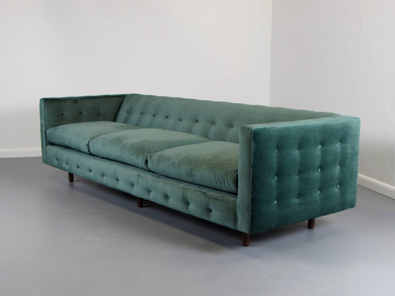 Lavish Velvet Tuxedo Sofa With Button Detail By Harvey Probber, Signed.  This Sofa Is
