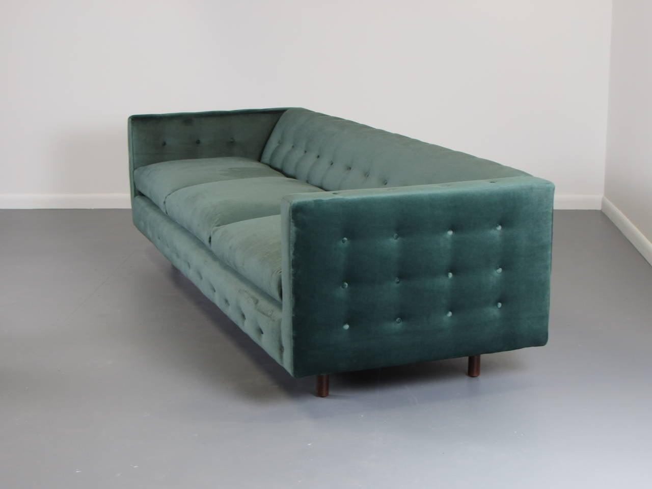 Velvet Tuxedo Sofa With Button Detail By Harvey Probber