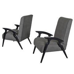 Pair of Sculptural Lacquered Italian Lounge Chairs after Ico Parisi, 1950s