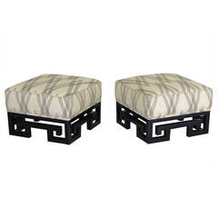 Incredible Ottomans or Stools with Lacquered Greek Key Bases after James Mont