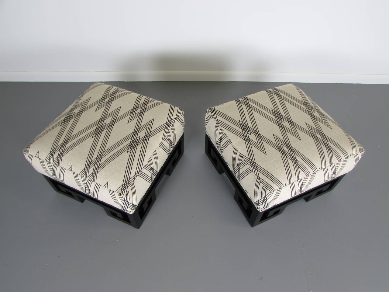 Incredible Ottomans Or Stools With Lacquered Greek Key