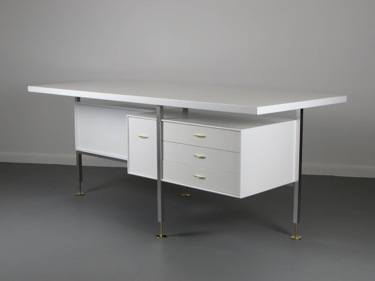 Striking Architectural Partners Desk In White Lacquer Brass Detail Italy 1960s A Beautiful Piece
