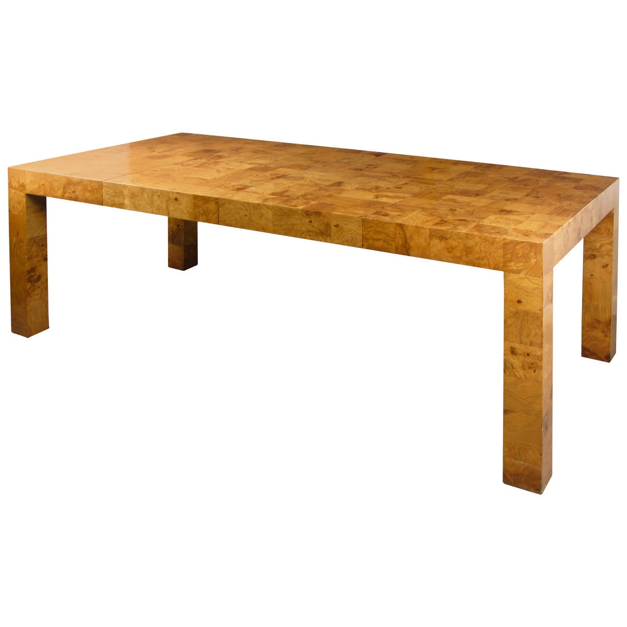 Incredible checkered burl parsons dining table by milo for Incredible dining room tables extendable