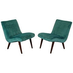 Sculptural Scoop Chairs in Velvet with Walnut Legs, 1950s