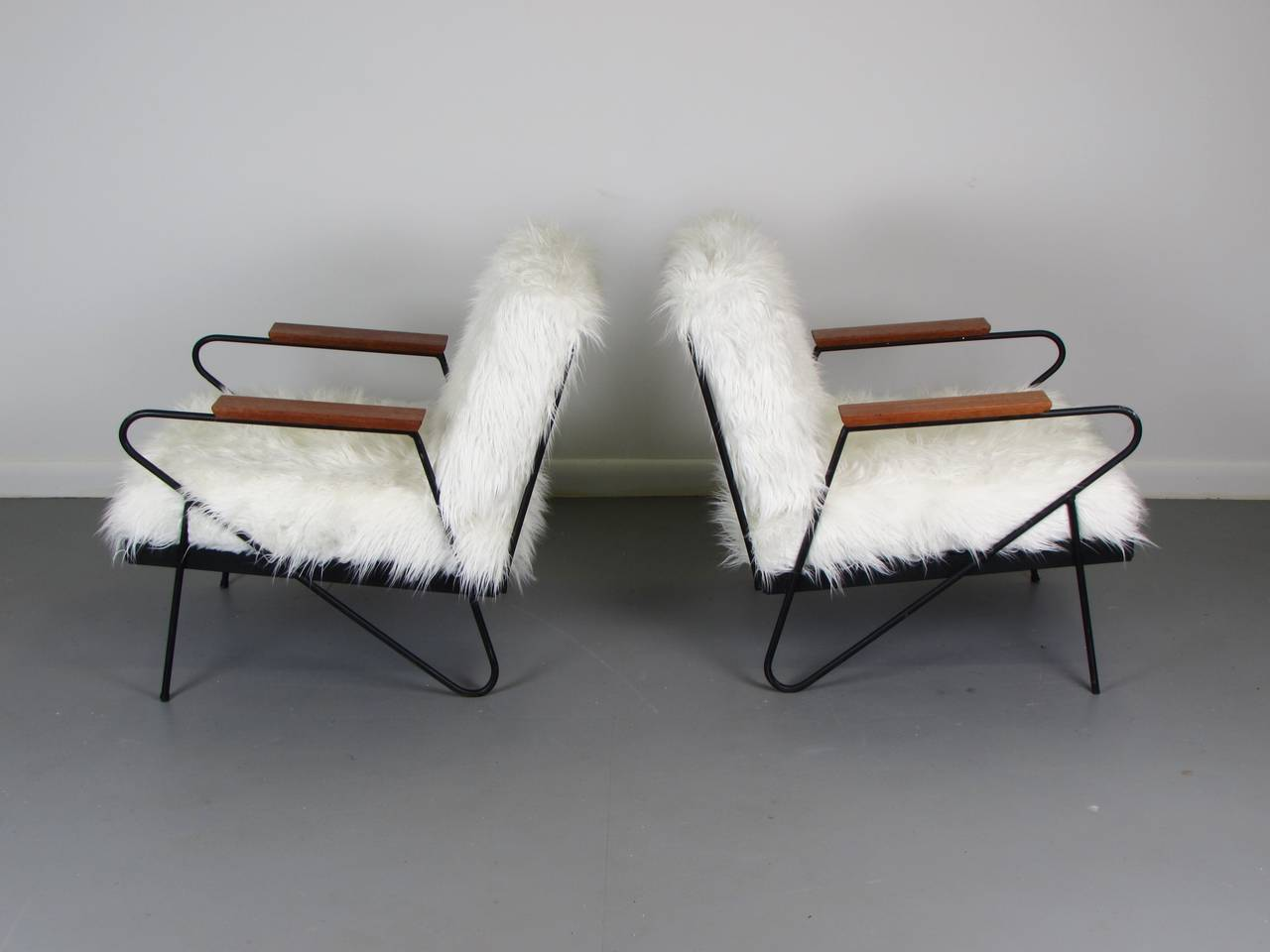 Custom Made California Modern Wrought Iron Lounge Chairs In Faux Llama 3