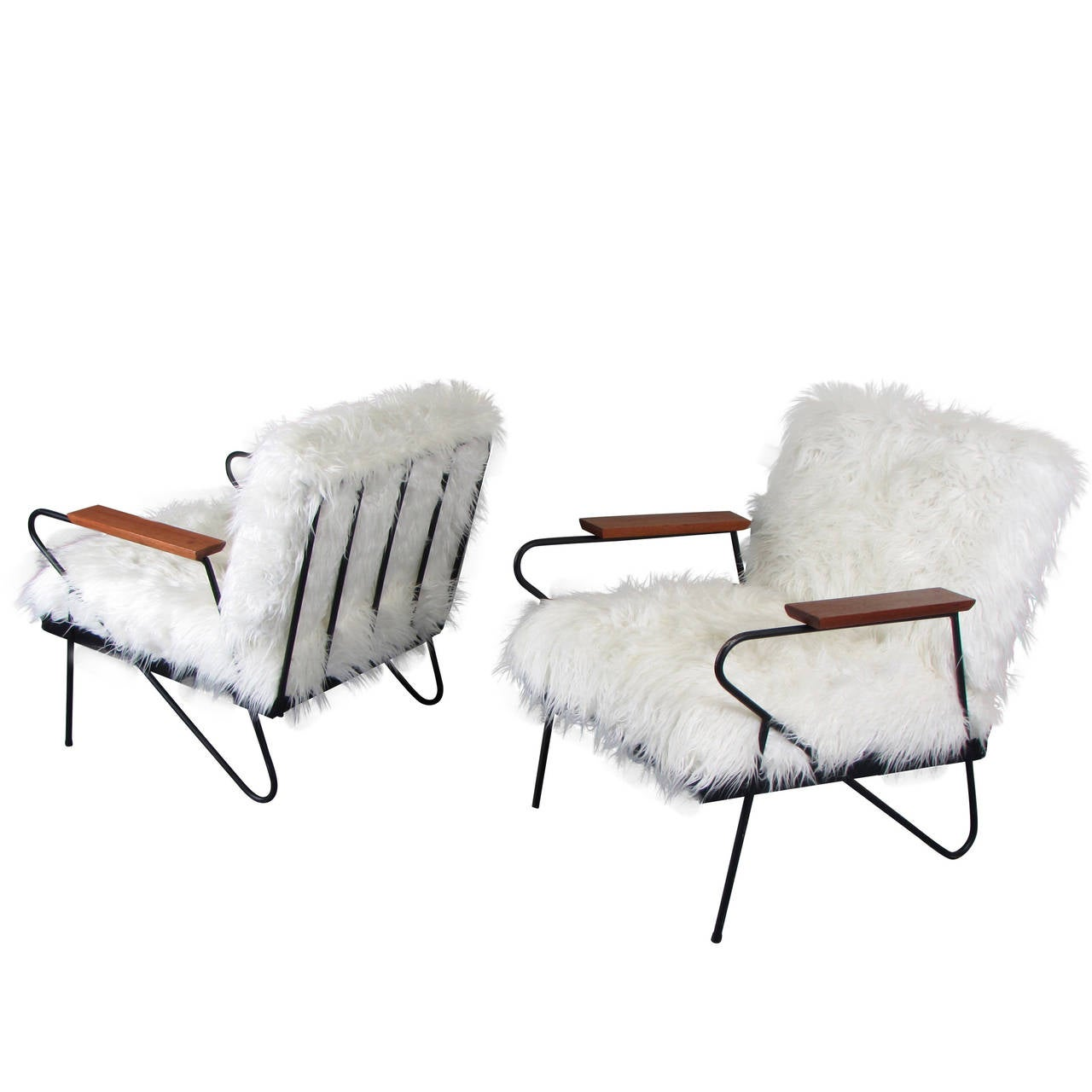 Awesome Custom Made California Modern Wrought Iron Lounge Chairs In Faux Llama 1