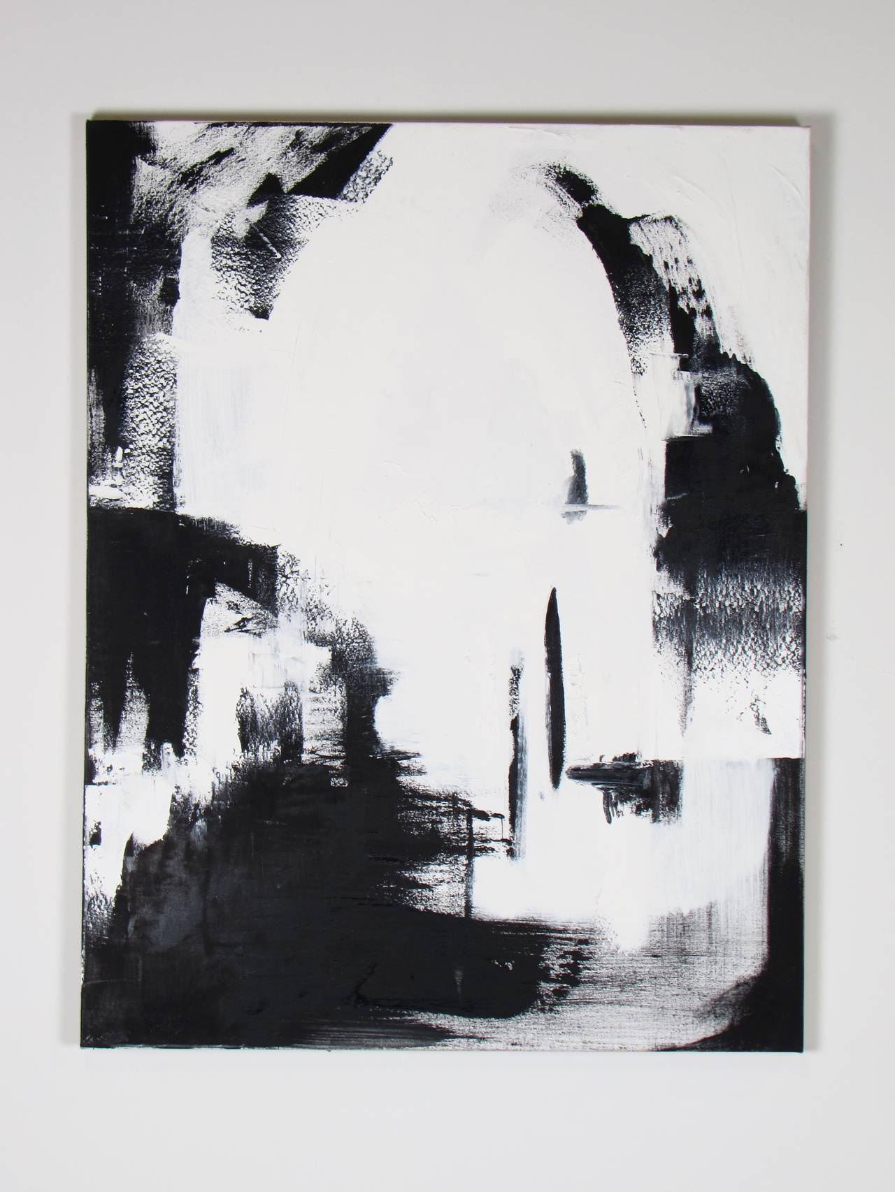 Large black and white oil on canvas abstract paintings by guillermo calles for sale 1