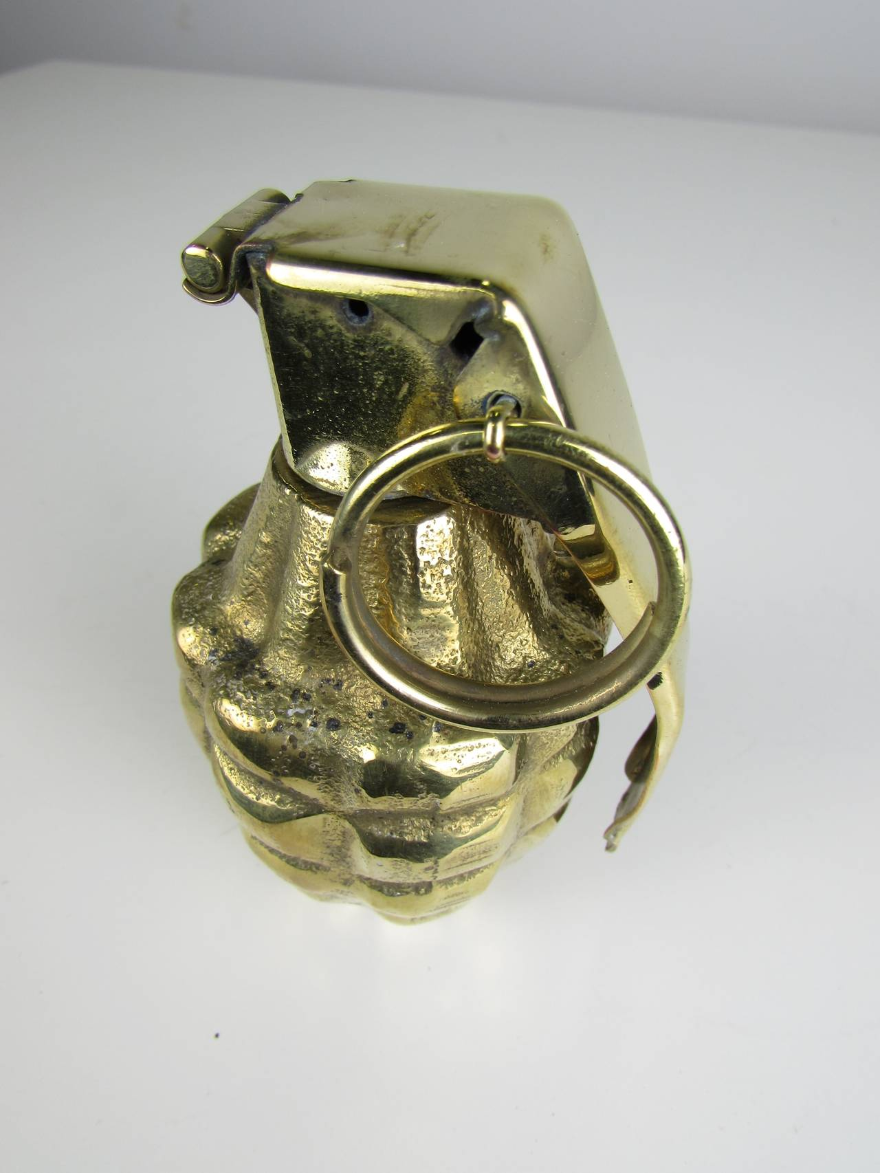 Brass-Plated Pop Art Hand Grenade Paperweight Desk Object