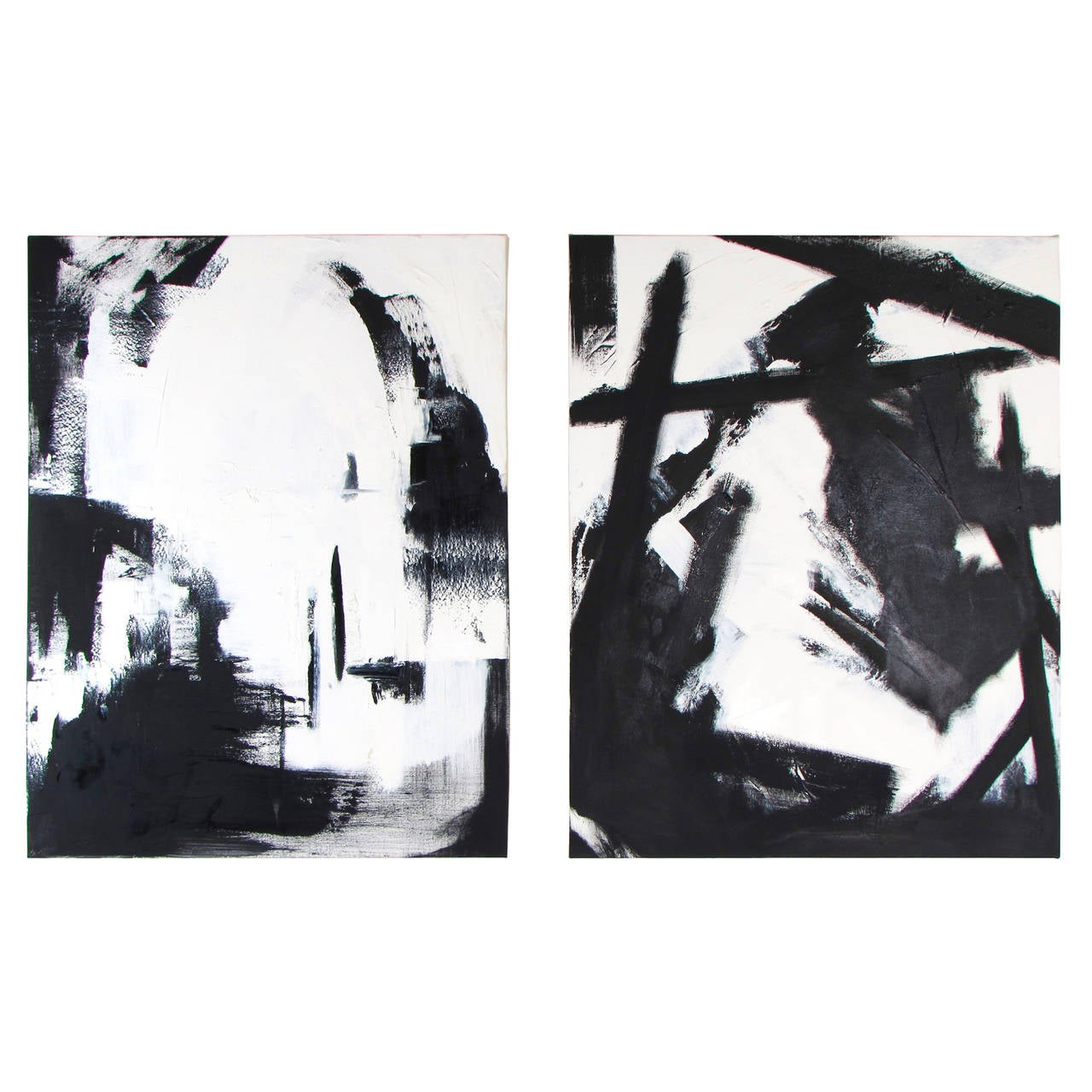 Large Black And White Oil On Canvas Abstract Paintings By