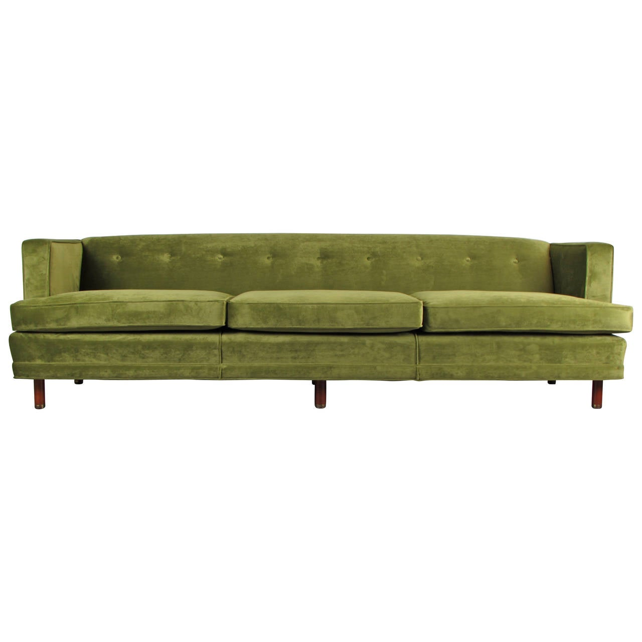 Exceptionnel Striking Velvet Tuxedo Sofa In The Style Of Edward Wormley, 1960s For Sale