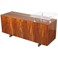 Rare Office Credenza in Exotic Veneer and Lucite by Vladimir Kagan, 1970s