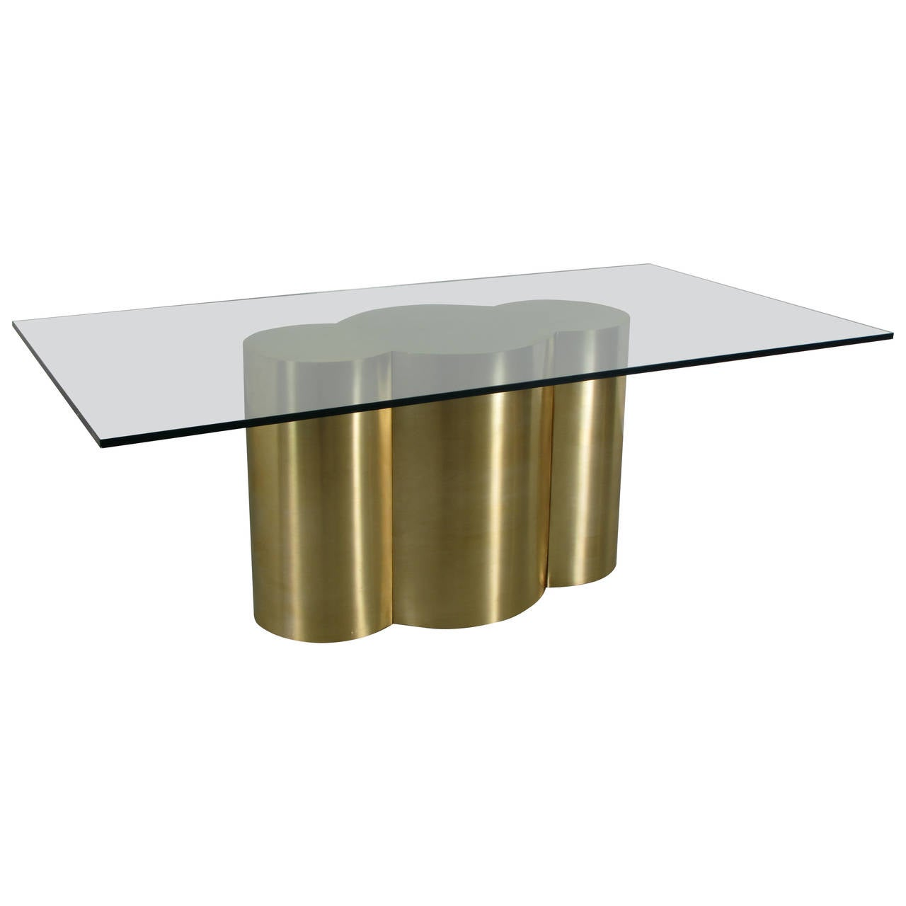 custom quatrefoil dining table base in polished brass by